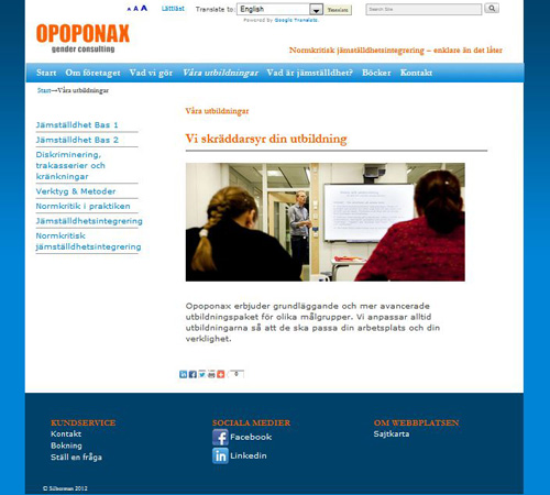 Opoponax Gender Consulting, hemsida